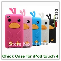 Biddy Chick Chickabiddy Chicken Chickling Silicone Cartoon Back Case Cover For iPod touch 4 10PCS Wholesale Free Shipping