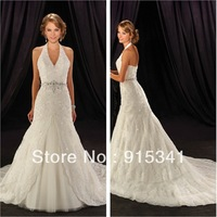 Sumptuous A-line Halter Simulated Beaded Belt Lace Court Train Elegant Wedding Dresses