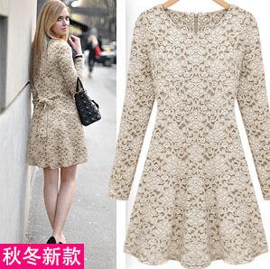 Turmec » long sleeve lace plus size dress