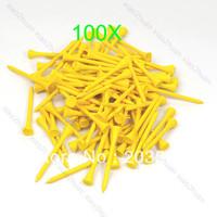 D19+100pcs 70mm Brand New Golf Ball Wood Tee Tees  Yellow Free Shipping