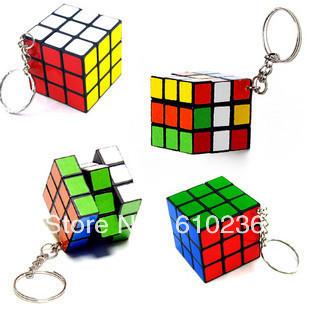 Free shipping wholesale multi color Mini Magic Cube Puzzle Magic Game intelligence magic Square Keychain key ring BG120310(China (Mainland))
