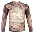 Free Shipping,Hot Sale Men's Dragon Printed 3D Creative Hoodies T-Shirt With Hat,Three D Long Sleeve Tee Shirt S-6XL,Plus Size