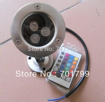 3*1W RGB LED underwater light, with 24key IR remote,DC12V input,IP68