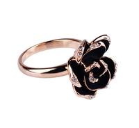 2013 black rose rhinestone ring small accessories jewelry birthday gift female