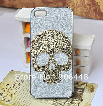 DIY Handmade Bling Cell Phone Case Cover for iphone 4 4S 5  5S  with Alloy Bronze Skull Decoration 1PCS