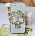DIY Handmade Bling Cell Phone Case Cover for iphone 4 4S 5  with Alloy Bronze Skull Decoration 1PCS