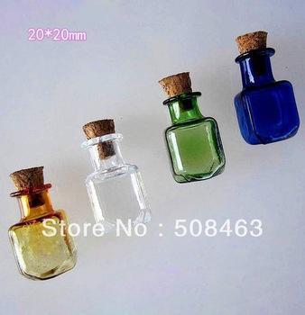 Free shipping 50pcs/lot cute box mixed color 20mm cork Wish  Mini glass Bottle Perfume essential oil vial