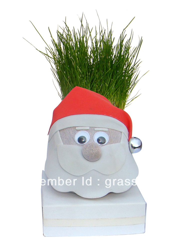 grow a head X-mas day gift (santa grass head)(China (Mainland))