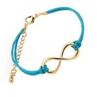 2014 HOT Sale Free shipping,Fashion Infinity Bracelet Gold color Eight Cross Charm Bracelet For Women