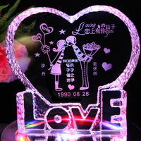 Personalized Crystal  Engraving With LED Rotation Base Decorations Crystal Crafts Valentine's Birthday love Gift Free shipping