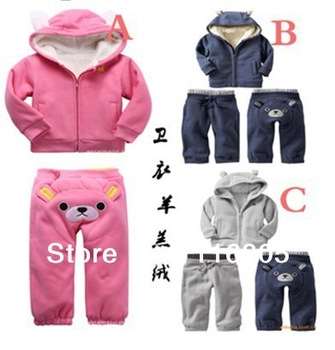 Children's clothing winter Kid casual set child pink thickening berber fleece long-sleeve sweatshirt bear pp