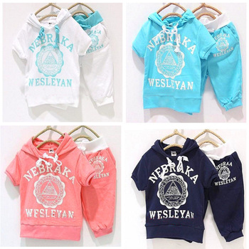 5pcs Baby suit boy girls letters Sport suits children short sleeve t shirt pant clothing set kids Hoodies pants sport clothes
