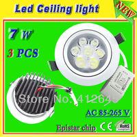 7w recessed kitchen ceiling lights_free shipping white aluminum shell AC85-265v led spot lamp_warm white/pure white/cold white