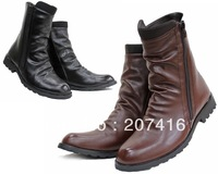 Pointed Toe Men's Shoes Ankle Boots,Black Brown Punk Wrinkles Side Zipper PU Leather Outdoor Riding Work Boot,EU Size39-44