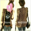 Free Shipping 2012 Fashion Women's Leopard jackets  Slim Collarless Coats