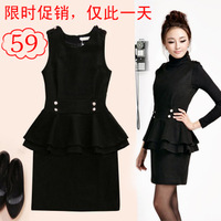 2013 women's one-piece dress autumn and winter slim winter plus size XXXL 4XL woolen dress for women