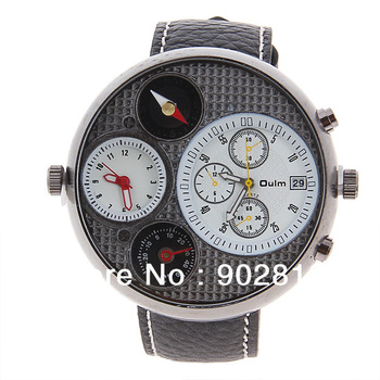 New Adventure Men's Quartz Military Wrist Watch with Compass Thermometer Dual Time Round Dial 23mm Genuine Leather Band gift