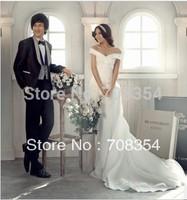 Elegant Off the Shoulder Chapel Trailing Wedding Gown 490