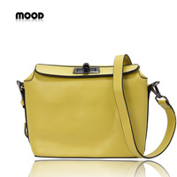 2012 mood shaping bag candy color women's handbag genuine leather messenger bag orange small bags