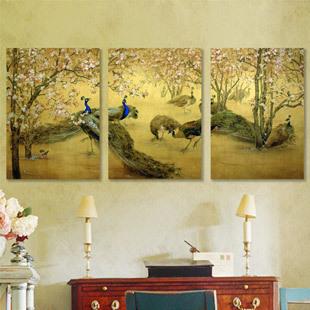 Pintura mural moderna decorativa romântica do frame de retrato do sofá do pavão da pintura