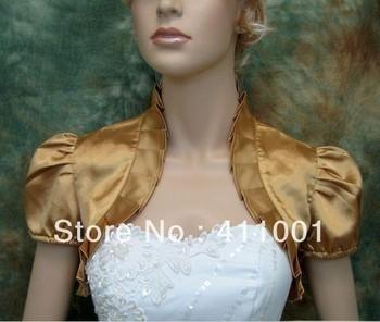 Gold Satin Bolero Bridal Jacket/Coat Bridal Wraps Short Sleeves Ladies Shrug Other Colors Available
