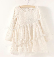 NEW ARRIVAL  HOT SELL  Girls long sleeve double lace dress,kids dresses for autumn/summer pure white,beautiful,free shipping