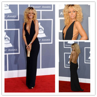Custom Made Backless Sleeveless sheath Sexy deep v neck Rihanna Celebrity Red Carpet Dress