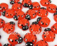 Free Shipping 100pcs Resin Red Ladybug Flatbacks Cabochon Scrapbook Craft