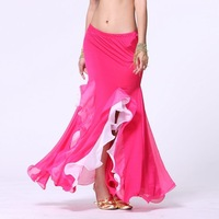 Belly dance skirt two-color slim hip full dress belly dance milk, silk two-color roll-up hem skirt