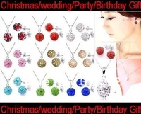 Free shipping 10mm Mix Color Shamballa Disco Pave Crystal Ball Pendant Necklace+Stud Earrings+925 Silver Chains