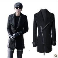 Free Shipping Mens 2012 autumn Korean version of a long section of hard skin coat slim Korean thickened wool jacket coat men