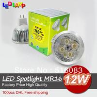 Replace 60W High Brightly CREE MR16 12W 4*3W 12V Led Light Lamp Led Spotlight Dwonlight bulb 100pcs Free ship by DHL