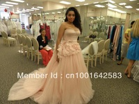 custom made 2012 Strapless Ball Gown with Satin Corset Bodice Style VW351112 wedding  dress