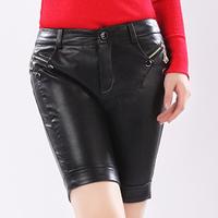 Leather shorts capris knee-length pants thickening water washed leather shorts female shorts 2012 slim