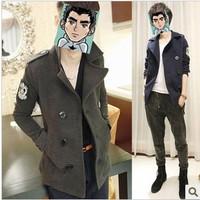 Free Shipping Mens jackets windbreaker Korean metrosexual male personality button wool coat Mens windbreaker in long winter coat
