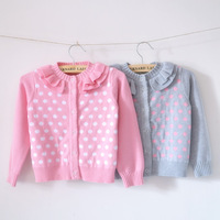 100% cotton pink dot knitted sweater cardigan little girl outerwear christmas