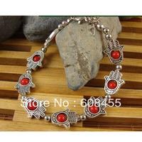"12pcs Vintage fatima&hamsa Hand Bracelet,Free Ship Tibet Silver ""Lucky Hamsa"" Kabbalah Amulet Hamsa Charm Bracelet"