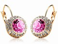 Rose Red  Moon River Crystal 18K Gold or Silver Alloy Earrings Studs