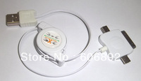 2pcs/lot usb2.0 retractable usb cable/3-in-1 Data+Charging usb Cable for iphone/ipad/Touch free shipping