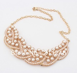 Free Shipping 2012 Newest Fashion beads Necklace Hot Wholesale Korea fashion Simulated-pearl Collar Necklace false collar(China (Mainland))