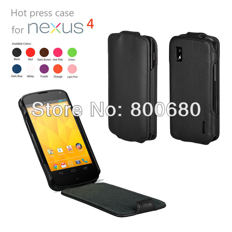 for Google Nexus 4 leather case cover, 200pcs/lot, Free shipping .(China (Mainland))