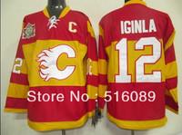 Wholesale!Free shipping!Cheap Calgary Flames 12 Jarome Iginla red (new winter classic) jersey men's ice hockey jerseys
