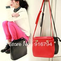 Free shipping!Fashion vintage small  bag casual women's handbag leather red messenger bag one shoulder cross-body bucket BG064