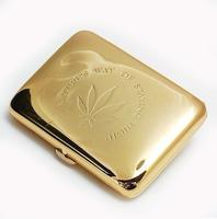 Smoking set double cigarette case copper metal cigarette case gold 16 320 gold maple leaf male