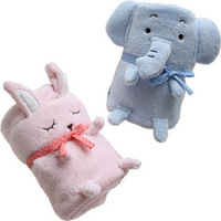 Cartoon thermal blanket blue powder onrabbit air conditioning blanket pillow