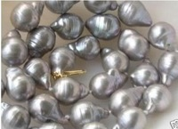 """HUGE 18"""" SOUTH SEA BAROQUE GRAY PEARL NECKLACE 14K GOLD"""