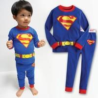 2013 High Quality Fashion baby boys cartoon superman long sleeve t-shirt + pants sleepwear for children Charm kids pajamas set