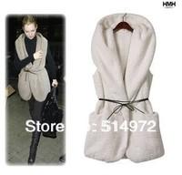 Women Autumn Winter Fashion Long Plush Jacket Vest Coat Sweaters+ Free Shipping