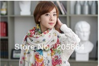FREE SHIPPING Celebrity Hot Large pastoral small wild flowers style Print Shawl Scarf 12 colors available,110x180cm