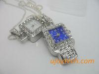 Jewelry Watch USB Flash Drive Real 1GB 2GB 4GB 8GB 16GB 32GB 64GB OEM metal clock USB flash stick Christmas Gift Free Shipping